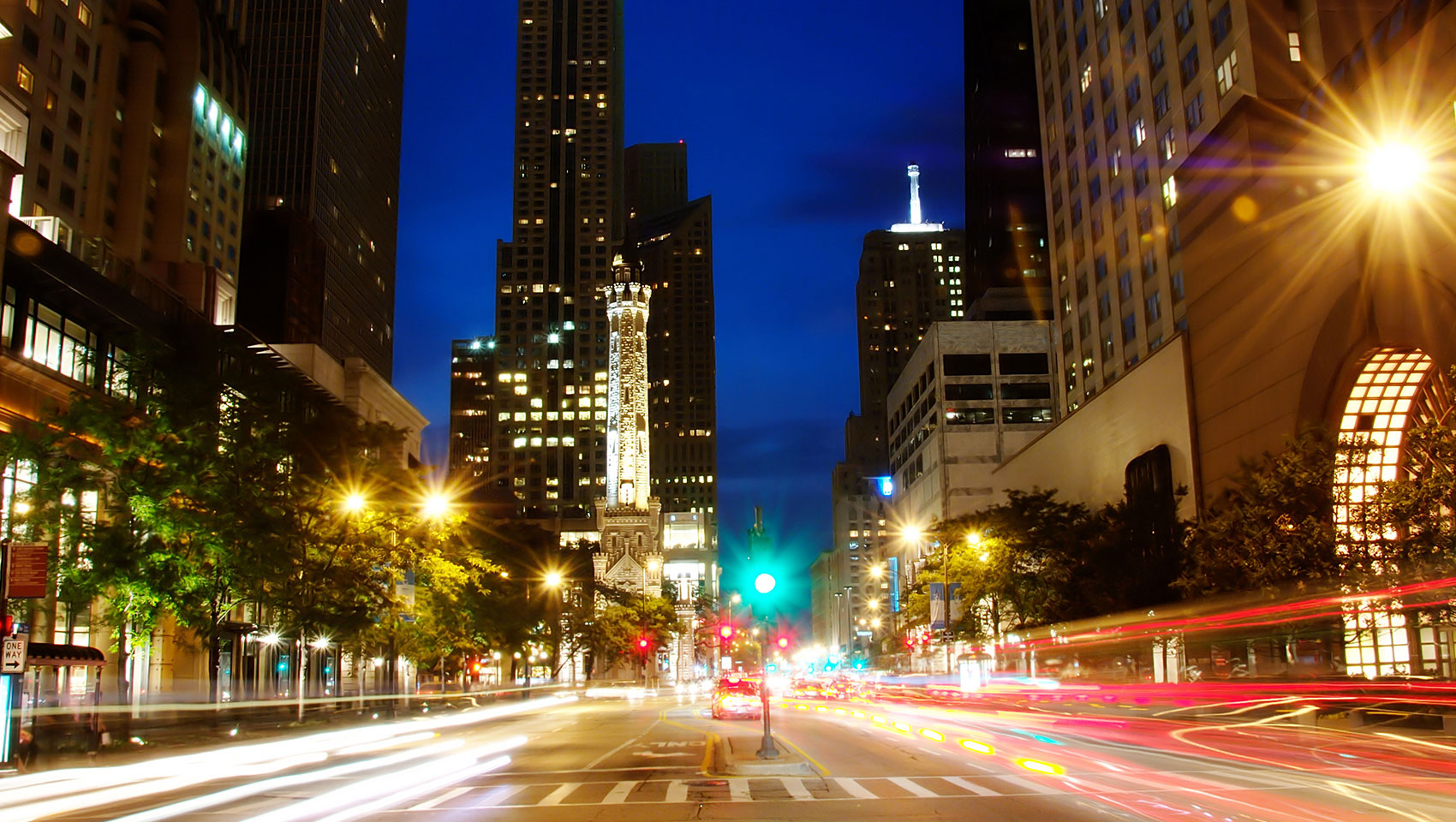 Chicago Michigan ave, cars passing, night time