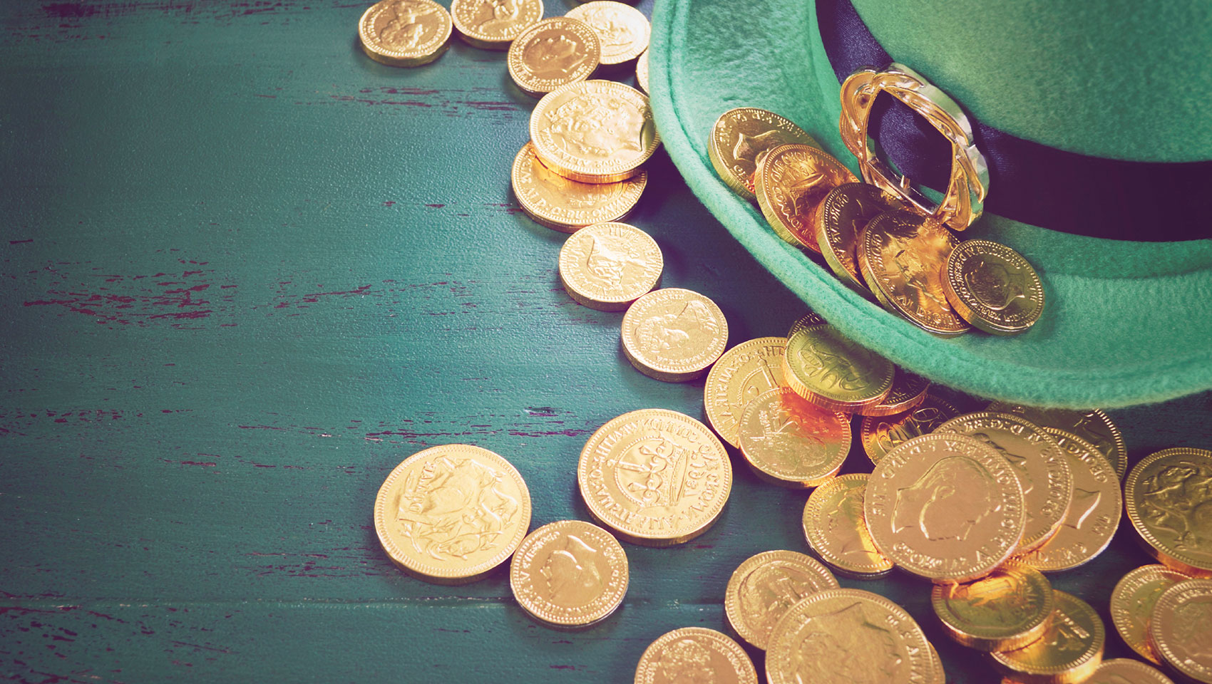Green hat, gold coins
